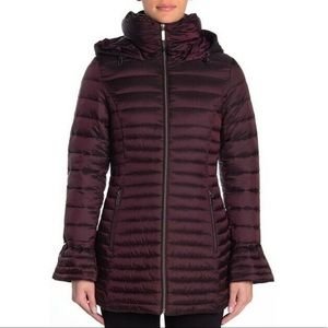 Laundry by Shelli Segal Plum Bell Sleeve Puffer